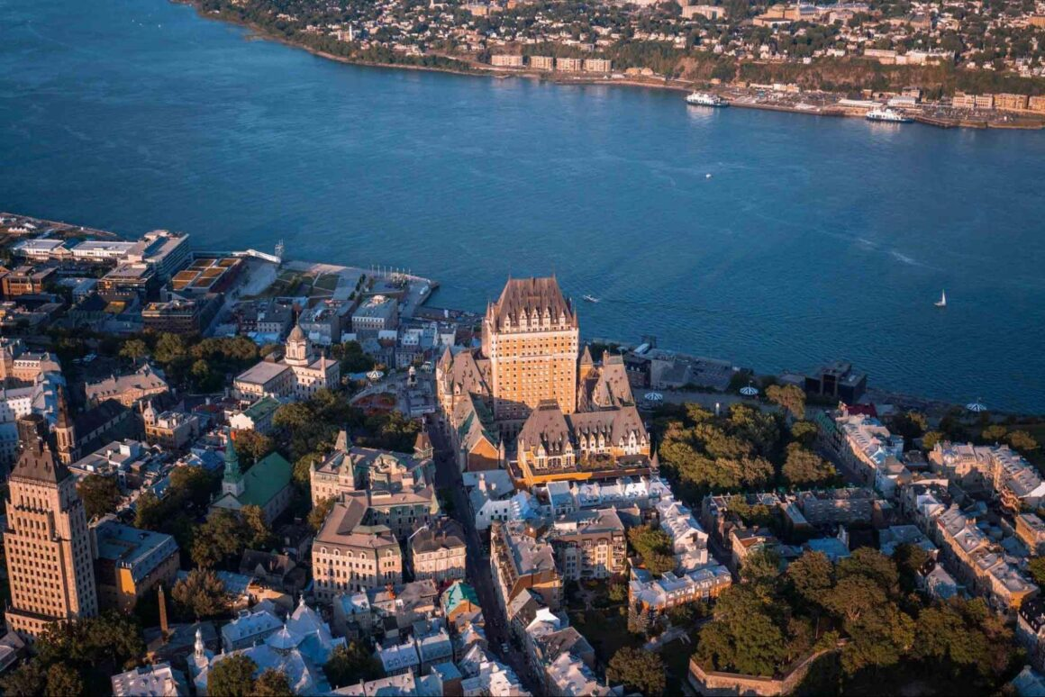 Aerial view of Quebec City Canada Coast to coast train tour Images of Canada Sanjay Chauhan