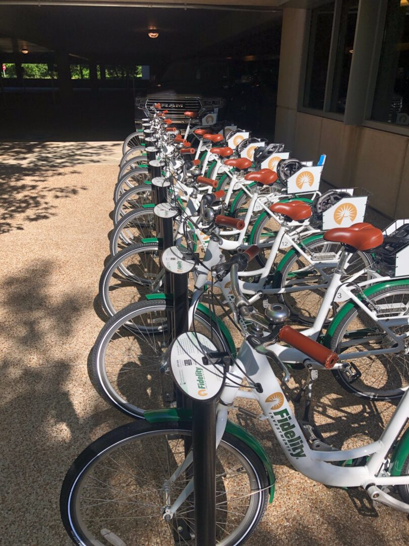A fleet of Fidelity-branded bicycles