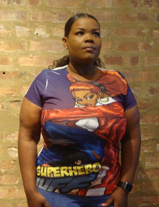 super hero huff t-shirt