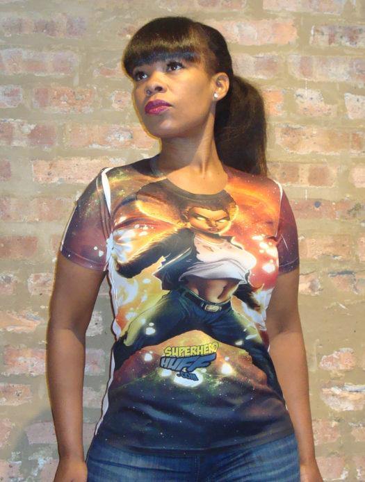 super hero huff vortext t-shirt