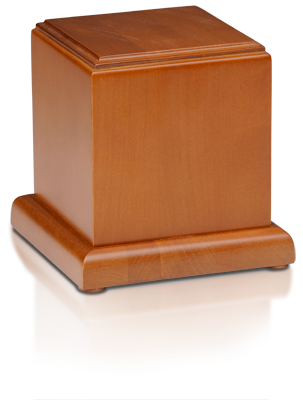Birch Wood Cube Cremation Urn with Honey Finish - Small - HB-105-HONEY