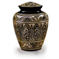 Black & Golden Brass Hand-Etched Cremation Urn – Adult – B-1570-A