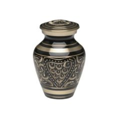 Black & Golden Brass Hand-Etched Cremation Urn with Heart Design – Keepsake – B-2253-K-NB