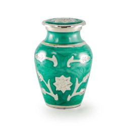 Brass Cremation Urn in Green with Flowers – Keepsake – B-1500-K-G-NB