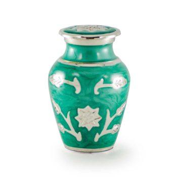 Brass Cremation Urn in Green with Flowers – Keepsake – B-1500-K-G-NB