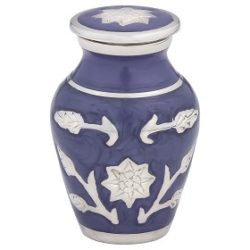 Brass Cremation Urn in Purple with Flowers – Keepsake – B-1500-K-P-NB