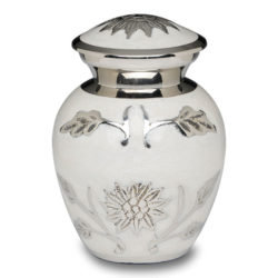 Brass Cremation Urn in White with Flowers – Keepsake – B-1500-K-W-NB