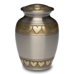 Brass Urn in Brushed Pewter Finish with Golden Brass Hearts – Small – B-2263-S