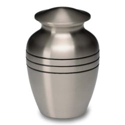 Brushed Pewter Urn with Three Rings – Keepsake – B-1556-K-NB
