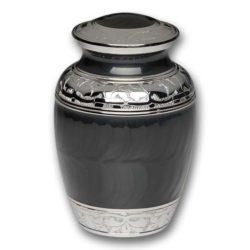 Elegant Charcoal Enamel and Nickel Cremation Urn – Medium – B-1528-M-CHAR