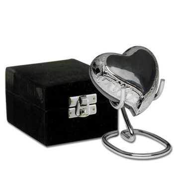 Elegant Charcoal Gray Enamel and Silver Color Cremation Urn – Heart Keepsake – B-1528-H-CHAR