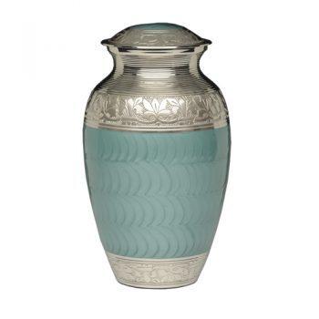 Elegant Green Enamel and Nickel Cremation Urn – Adult – B-1528-A-G