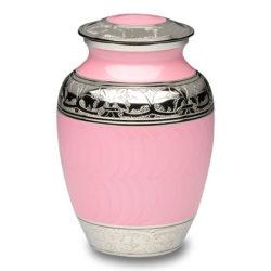 Elegant Pink Enamel and Nickel Cremation Urn – Medium – B-1528-M-Pink