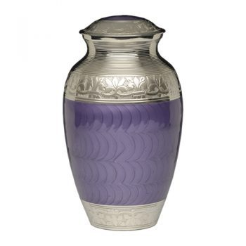Elegant Purple Enamel and Nickel Cremation Urn – Adult – B-1528-A-PUR