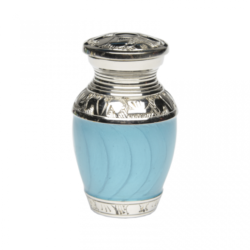 Elegant Turquoise Enamel and Nickel Cremation Urn – Keepsake – B-1528-K-TURQ-NB
