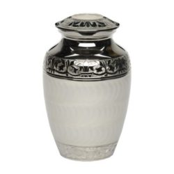Elegant White Enamel and Nickel Cremation Urn – Small – B-1528-S-WHITE