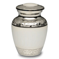 White Enamel and Silver Color Cremation Urn – Extra Small – B-1528-XS-WHITE