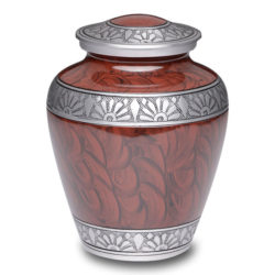 Affordable Alloy Cremation Urn Espresso Brown with hand feathered design – Adult – A-3250-A