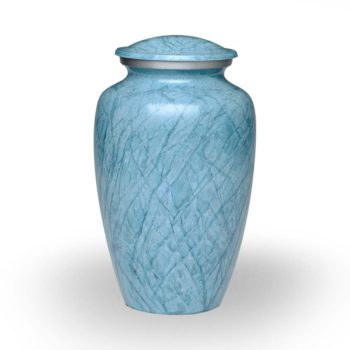 Affordable Alloy Cremation Urn in Beautiful Blue – Keepsake – A-1411-K-NB
