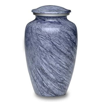 Affordable Alloy Cremation Urn in Beautiful Blue-Gray – Adult – A-1413-A