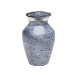 Affordable Alloy Cremation Urn in Beautiful Blue Gray – Keepsake – A-1413-K-NB