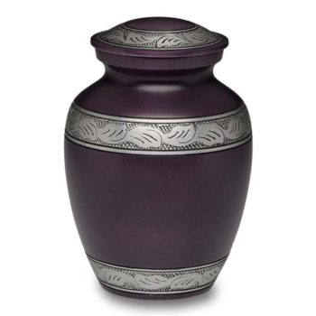 Affordable Alloy Cremation Urn in Beautiful Purple – Medium – A-1489-M-PUR