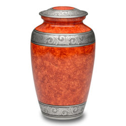 Affordable Alloy Cremation Urn in Beautiful Rust Orange – Adult – A-3242-A