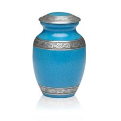 Affordable Alloy Cremation Urn in Beautiful Turquoise – Medium – A-1489-M-TUR