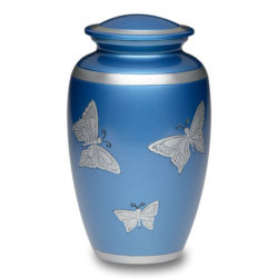 Affordable Alloy Cremation Urn in Blue with Butterflies – Adult – A-2406-A