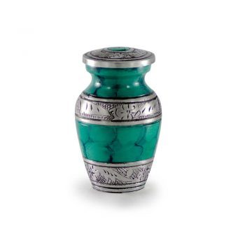 Affordable Alloy Cremation Urn in Green – Keepsake – A-2319-K-NB