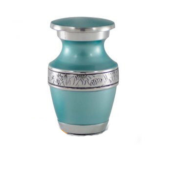 Affordable Alloy Cremation Urn in Teal – Keepsake – A-2250-K-NB