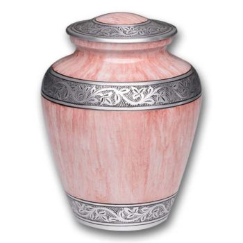 Alloy Cremation Urn – Pink Marble Design with hand engraved band – Adult – A-3251-A