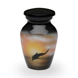 Alloy Cremation Urn in with Jumping Dolphin Design – Keepsake – A-2421-K-NB