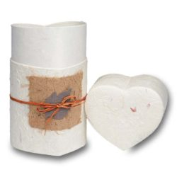 Biodegradable Peaceful Return Urn in Heart Shape – Natural White – Small - 1020-HEART-NATURAL-S