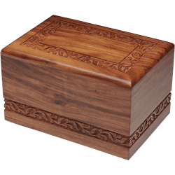 Rosewood Urn with Hand-Carved Border (Adult Size)