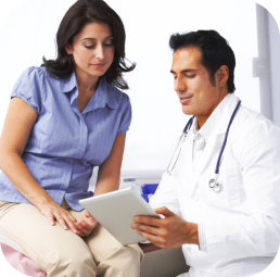 doctor and patient looking at the tablet