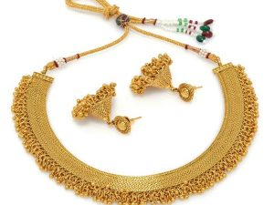 All Gold Collar Necklace With Mini Ghungroos