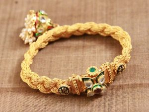 Antique Braided Kundan Jhumki Kada