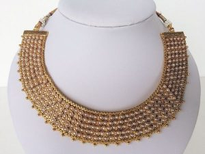 Antique Collar Kemp Necklace & Broad Umbrella Jhumka Set