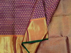 Aubergine Purple Pure Kanchipuram Silk Saree