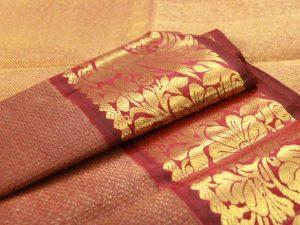 Dark Maroon Pure Kanchipuram Silk Koorai Saree