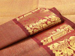 Dark Maroon Pure Kanchipuram Silk Koorai Saree