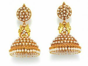 Domed Temple Jimikki/Jhumkas with Peacock Details