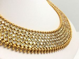 Elegant Stone Collar Necklace with Oversized Matching Jhumkas