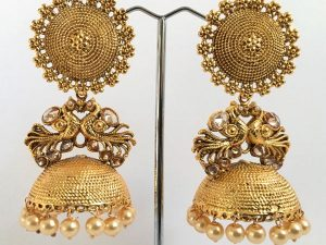 Extra Large Stippled Jhumkas with Champagne Stones & Peach Pearls