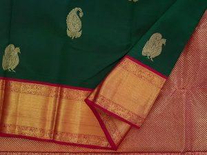 Forest Green & Vermillion Red Pure Kanchipuram Silk Saree