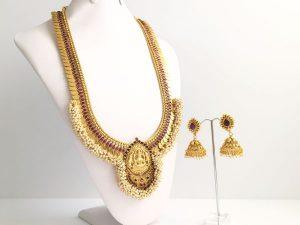 Grand Coin & Pearl Cluster Lakshmi Haaram with Matching Jhumkas (Purple)