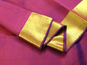 Jewel Purple & Plain Solid Gold Border Pure Kanchipuram Silk Saree