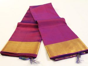 Jewel Purple & Plain Solid Gold Border Pure Kanchipuram Silk Saree