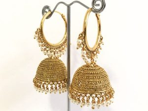 Large Antique Gold Domed Hoop Jhumkas